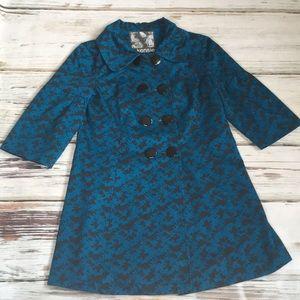 Kensie Pea Coat Jacket Blazer Teal Blue Large